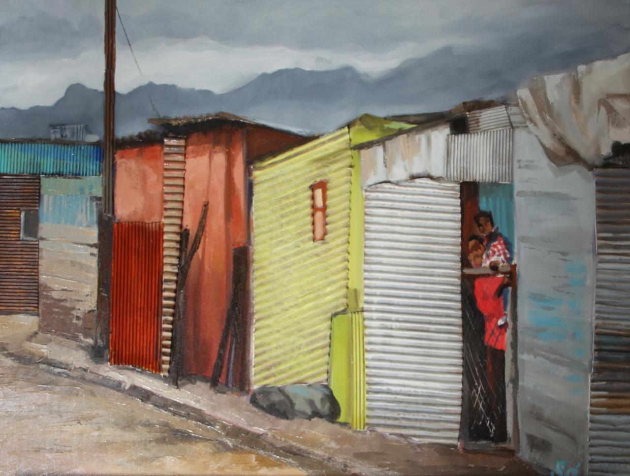 South Africa'sTownship 1   (technique mixte sur toile)